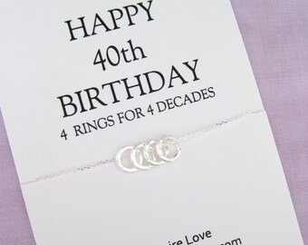40th BIRTHDAY GIFT for her, Sterling Eternity Circle necklace for mom, family of 4, gift for wife, Silver Eternity necklace, Gift For Her