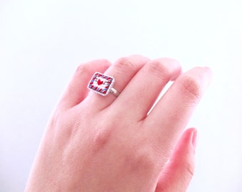 Airmail Ring, Love letter ring, Cross Stitch Ring, gifts for her, gifts for penpals