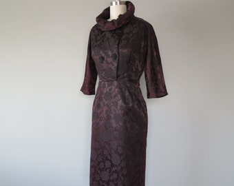 vintage 1950s satin brocade coat dress size small