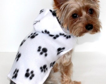 Cute Paw Print Dog Hoodie, XXS XS S M L - White with Black Paws Fleece Dog Jacket, Lightweight dogs coat