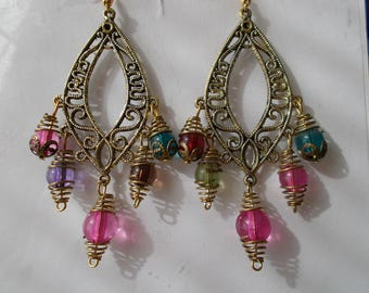 Gold Tone Chandelier Earrings with Multi Color Gold Caged Beads