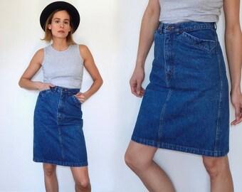 vintage 80s denim pencil skirt denim midid skirt above the knee skirt medium wash denim skirt vintage GAP jean skirt high waisted skirt S