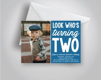 "Look Who's Turning Two, Second Birthday Party, Blue boy invitation, ""Emmett"" Design, 5x7"
