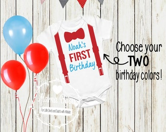 Birthday Boy Tie Suspenders Outfit Boy Clothes Clothing First, Second, Third, or Fourth Birthday Boy - Customize Choose Your Colors!