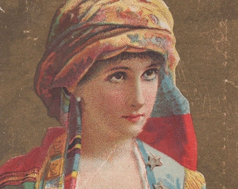 Lady In Ethnic Dress -  Dr Thomas Eclectric Oil - Original Antique Trade Card