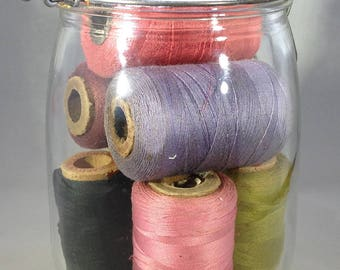 Antique Quart Mason Jar of Thread Spools
