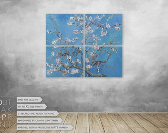 Van Gogh Blossoming Almond Tree on 4 panels Canvas Art Print ready to hang