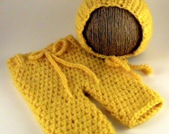 Morning Glow Gold Newborn - 3 Month Crochet Pants Britches Pixie Bonnet Hat Cap Handmade Infant Baby Boy GIrl Photo Photography Studio Prop
