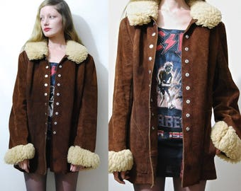 70s Vintage SHEARLING Jacket Suede Distressed Leather Lambs Wool Real Sheepskin Fur Trim Edge Brown Coat Bohemian Hippie Retro 1970s vtg S M