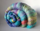 Art Batt - Easter Pom-Pom - Merino, Silk, Nylon, Baby BFL locks, Firestar, Bamboo and Sparkle - Spinning Mermaid - 3.5 oz