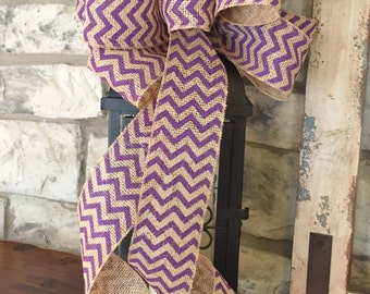 Purple Chevron ~Burlap Wired Edge Ribbon Bow for Wreath, Swag, Lantern~Timeless Floral Creations~Free Shipping