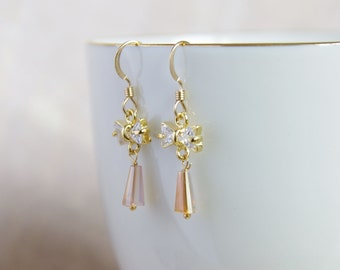Crystal Bow Butterfly Earrings - Gold Bridesmaid Earrings - Bridesmaid Jewelry - Drop Earrings