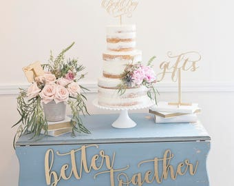 Better Together Wedding Chair Signs Wood Laser Cut Photo Props