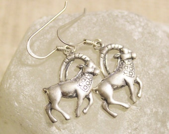 Capricorn Sterling Silver Dangle Earrings, Zodiac Sign Earrings, Capricorn Jewelry