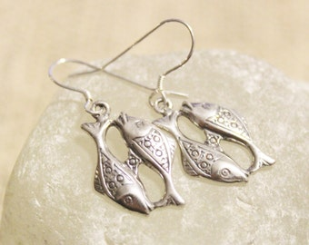 Sterling Silver Pisces Earrings, Astrology Jewelry ,Gifts Under 25