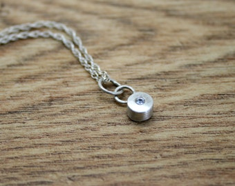 White Sapphire Pendant, Recycled Silver, Eco-Friendly, Ethical Gemstone, 18 Inch Spiga Chain