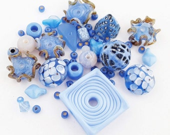Blue Bead Mix | DIY Jewelry Kit | Orphan Beads | Lampwork Glass | Torch-Fired Enamel | Agate | Square Pendant | Glass Ruffles | Blue Hutch