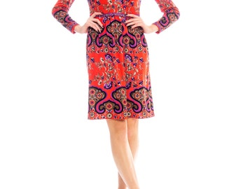 1960s Mr. Dino Mod Psychedelic Floral Print Dress Size: M