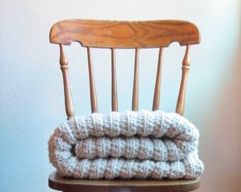 Chunky Crochet Blanket - 100% Wool Knit Blanket - Velvety Soft - Throw Blanket