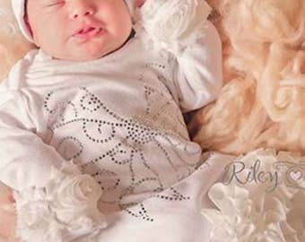Infant Layette White Baby Gown with Off White Chiffon Flowers and Large Rhinestone Bow