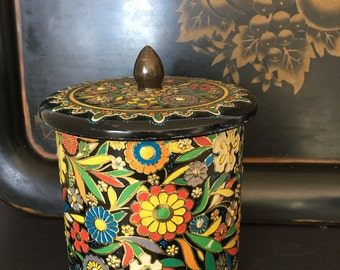 Vintage Tin Canister Embossed Floral Pattern Dutch Tin Made in Holland Old World Charm