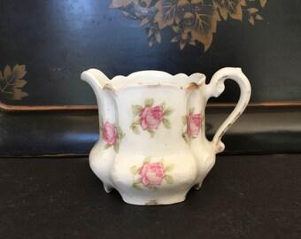 Antique Bavarian Creamer Zeh Scherzer Irma Pattern Pink White and Gold Shabby Cottage Chic