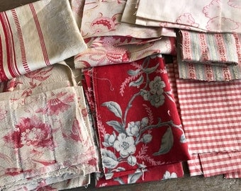 Historical French Fabric Collection, 1800s, Checks, Toiles, Ticking, Prints, Hemp, Linen, French Provincial, French Textiles,  1,5 sq Meters