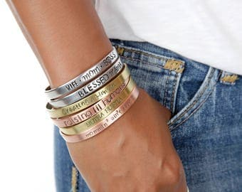 Mother's Personalized Cuffs | Mother's Day Custom Cuffs | Mommin' Ain't Easy Cuff | Engraved Cuffs Expressions Bracelets