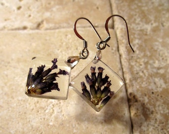 Lavender Square Earrings, dangle earring, plant jewelry, flower jewellery, surgical steel hook, purple, herb, nature jewelry