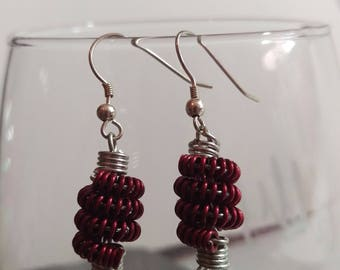 Handmade Red and Silver Coil Earrings