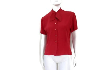 Red Rayon Secretary Blouse by Morlove with Bow Detail The Couturier Blouse