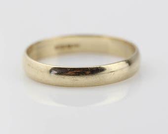9ct Gold Band Ladies Plain Ring  Size UK L 1/2 and US 6 Hallmarked 9 Carat