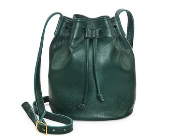 Forest green leather bucket bag, leather handbag, crossbody bucket bag