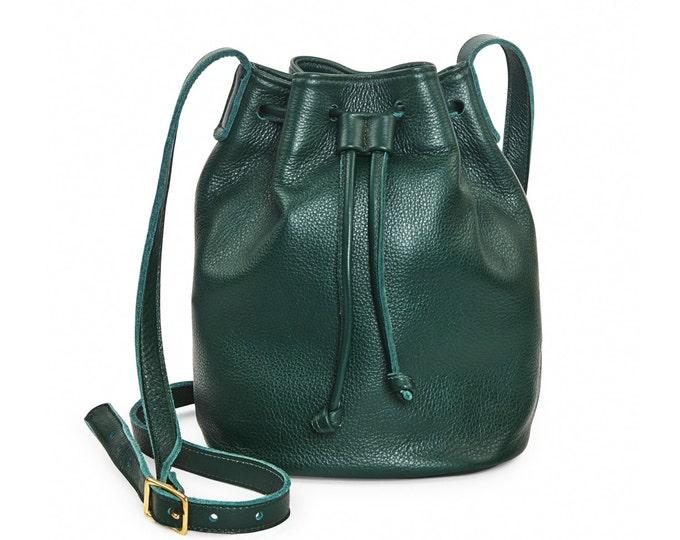 Forest green leather bucket bag, leather handbag, crossbody bucket bag