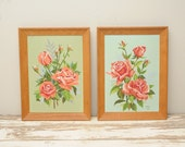 PAIR Roses PBN Paintings Signed 1963