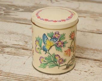 Round Floral Butterfly Tin ENGLAND