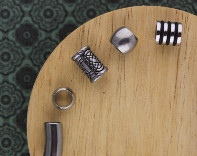 5 Stainless Steel 6mm 7mm (1/4 - 5/16 Inch) Hole Dreadlock Beads