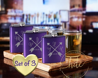 Bridesmaids Gifts/SET OF THREE Flasks/Personalized Womens Flasks/Bridal Party Gifts/Birthday Gifts for Her/Bachelorette Party Gifts