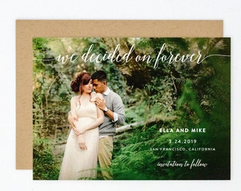 Modern Save the Date - Hand Drawn Greenery and Chic Calligraphy Wedding Photo Save the Date (Ella Suite)