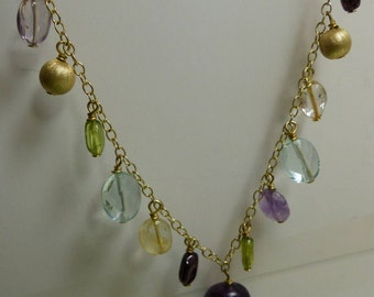 """Gold over Sterling Silver Gemstone Necklace 10.3 grms-18"""" long-adjustable-largest stone 13mmX13mm 1782"""