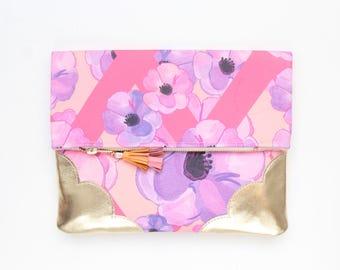 SALE / Flower clutch bag. Fold over clutch. Leather handbag.Statement purse. Floral print.Metallic gold leather. Pink handbag.  /FLOWERET 53
