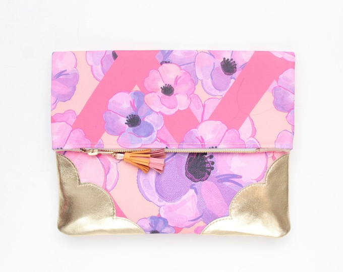 Flower clutch purse - leather bag - folded nature inspired purse- tassel pull bag-pink yellow gold metallic  - Ready to Ship/FLOWERET 53