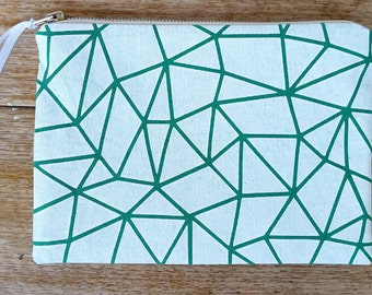 Geo-triangle pouch - white on emerald green - screen printed and handmade