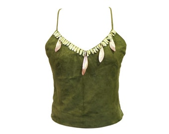 Mermaid Top, Suede Spaghetti Strap Top, Natural Shell MOP Beads, Olive Green Leather, Sleeveless Tank Top, Real Leather Crop Top, Size XS