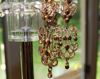 Gold Chandelier Clip Earrings