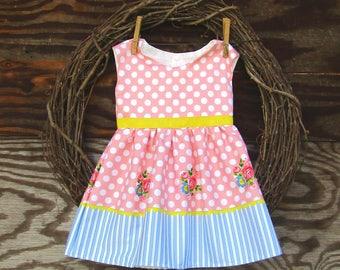 Girls Easter Dress, Pink Polka Dot Dress,  Yellow Dress, Flower Girl Dress