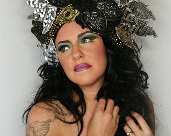 Glamourous metallic floral facinator crown headpiece fascinator hat headdress fashion accessory