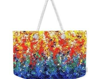 Rainbow Overnight Bag, Weekender Bag, Market Bag, Travel Bag, Luggage Bag, Handbag, Shoulder Bag, Bright Colors Beach Bag, Hanging Gardens