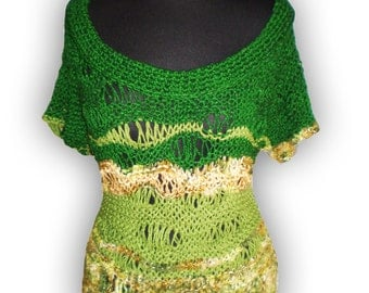 Green short sleeve sweater vest woman loose sleeveless sweater size S M L