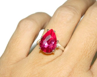 Pink Sapphire Ring, Sterling Silver Pear Shape Ring, Beautiful Cocktail Ring, Anniversary Ring